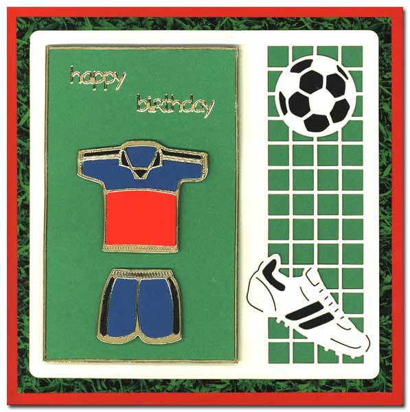 doodey handmade craft birthday card with soccer shirt, Birthday card