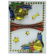 christmas card with baubles and falling stars