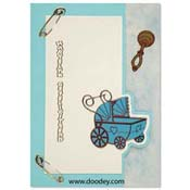 birth card pram boy