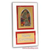 christmas card with churchwindow and bells