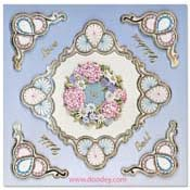 love embroidery card ornament circles