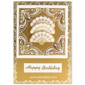 Embroidery card happy birthday with fan