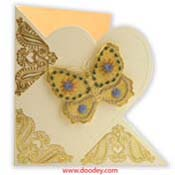 Embroidery butterfly on heart shape card