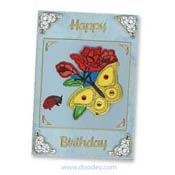 embroidery happy birthday with butterfly and lady