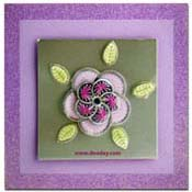 card with embroidery flower