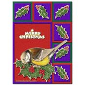 christmas card bird with squares