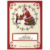 card with embroidery background santa with merry c