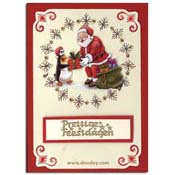 card with embroidery background santa