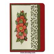 card with red flowers and luxury card layer