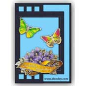 card blue with label and butterflies