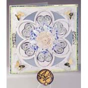 Mandala card with embroidered stickers