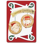 Christmas card snowman and santa claus