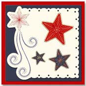 Christmas card with embroidered stars