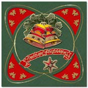 christmas card with 3D bells