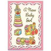 card birth with toys