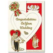 card wedding with drinks, wedding couple, pigeon