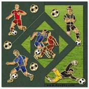 card with soccer players, keeper and referee