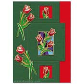 card with many tulips
