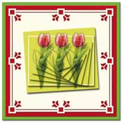 3D pyramids card with flowers