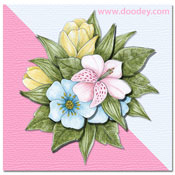 3D flowers mini thank you card