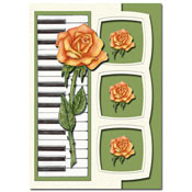 card with flowers and a piano