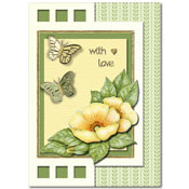 card with flowers and butterflies