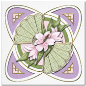 card with flowers and a fan
