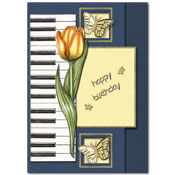 happy birthday card with flowers, butterflies and