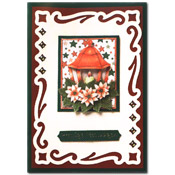 Christmas card with flowers and a lantern
