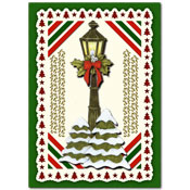 christmas cards with christmas trees and lantern