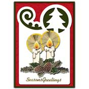 seasons greetings card with 3D candles and christm