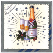 christmas card with champagne bottle and champagne