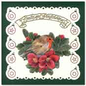 embroidered christmas card with little robin