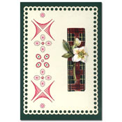 embroidered card with white flower