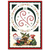 christmas embroidered card with garden gnome