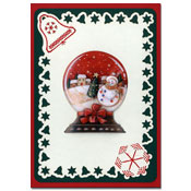 embroidered card christmas with snow christal