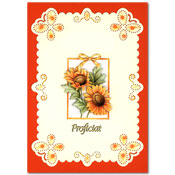 embroidered card with flowers