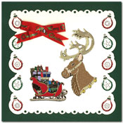 embroidered card christmas with reindeer