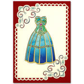embroidered card with fashion dress