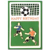 birthday card with soccer players