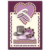 Wedding card with strass-stickers