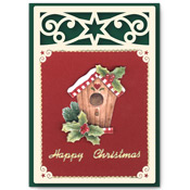 Christmas card with bird house