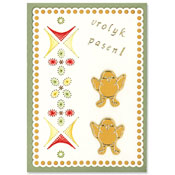 card with easter chickens